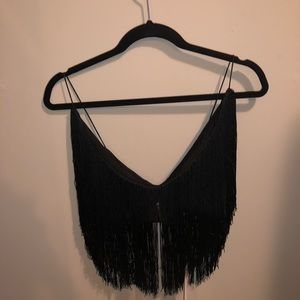 f8c55f4abaefa Meshki Tops - 🖤Meshki Black Fringe V Neck Crop Top🖤